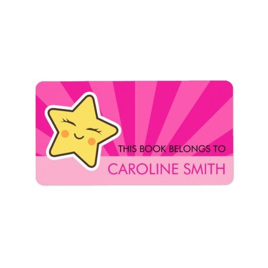 Cute kawii star on hot pink sunburst bookplate label