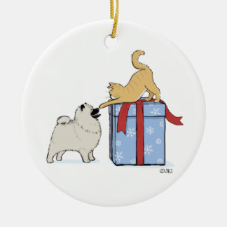 Cute Keeshond Puppy and Kitten Christmas Ceramic Ornament