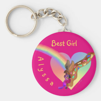 Cute Key Chain For Girls - Heart Rainbow & Lila