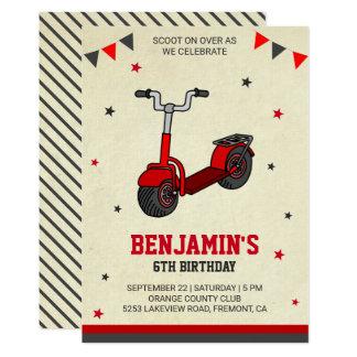 Cute Kick Scooter Kids Birthday Party Invitation