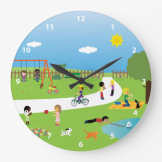 Cute Kids & Animals Playing in the Park Large Clock