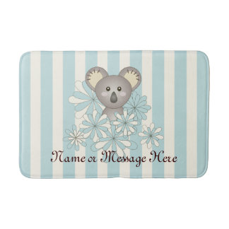 Cute Kids Cartoon Animal Koala Pastel Blue Striped Bathroom Mat
