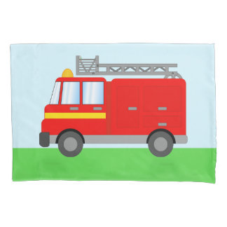 Cute Kids Cartoon Big Red Fire Engine Truck Pillowcase