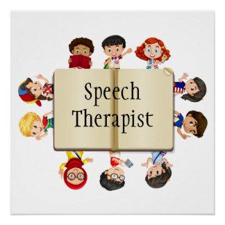 Cute Kids Cartoon Book Speech Therapist Poster