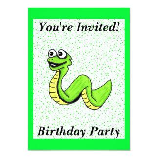 "Cute Kids Cartoon Green Snake Birthday 5"" X 7"" Invitation Card"