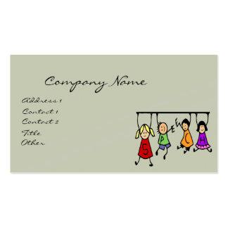 Cute Kids Cartoon Holding Speech Words Business Card