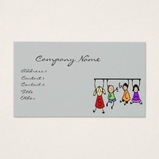 Cute Kids Cartoon Holding Speech Words Business Card