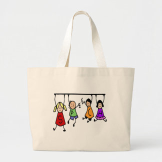 Cute Kids Cartoon Holding Speech Words Large Tote Bag