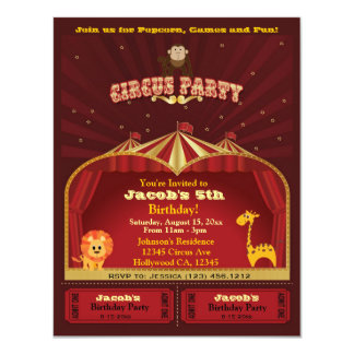 Cute Kid's Circus Tickets Birthday Party Card