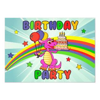 "Cute Kids dinosaur birthday party 5"" X 7"" Invitation Card"