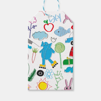 Cute Kids Doodles Pattern Party Supplies Pack Of Gift Tags