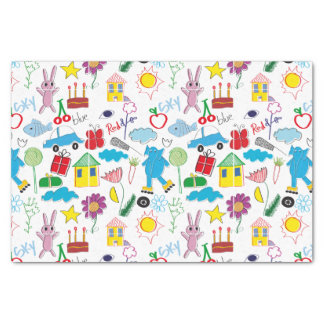 Cute Kids Doodles Pattern Party Supplies Tissue Paper