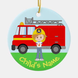 Cute Kid's Firefighter and Truck Colorful Cartoon Ceramic Ornament