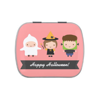 Cute Kids Halloween Trick or Treat Candy Tin