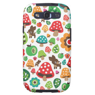 Cute kids pattern with flower leaf deer mushroom galaxy s3 covers