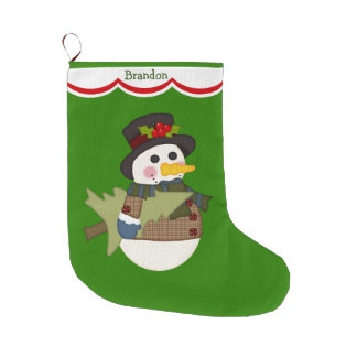 Cute Kids Personalized Snowman Large Christmas Stocking