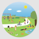 Cute Kids & Pets Playing In The Park Stickers
