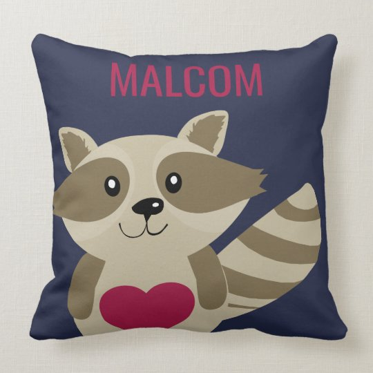 Cute Kids Raccoon Woodland Animal Personalized Throw Pillow