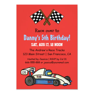 Cute Kids Race Car Birthday Party Invitations