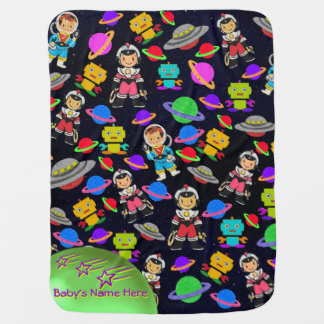 Cute Kids Retro Astronauts, Robots and Planets Baby Blanket