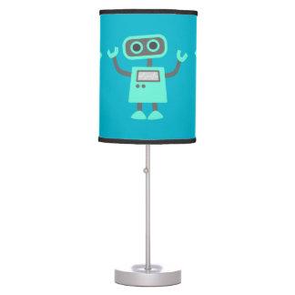 Cute Kids Robot Waving Hello Blue Custom Color Table Lamp