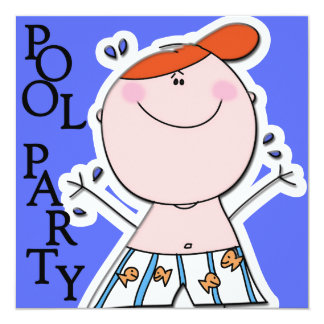 Cute Kids Summer Pool Party Swimming Birthday Card