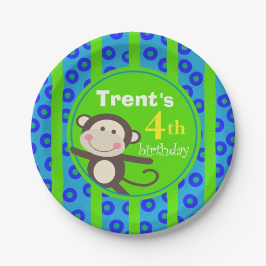 Cute Kids Toy Monkey Birthday Party | blue green 7 Inch Paper Plate
