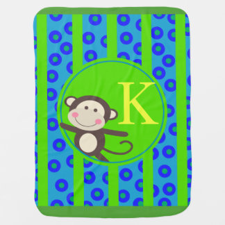Cute Kids Toy Monkey Monogram | blue green Baby Blanket