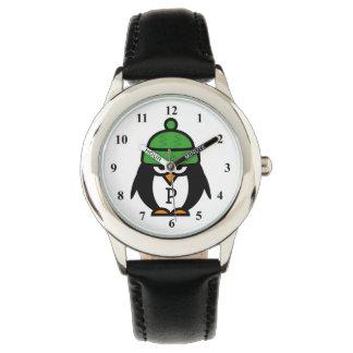 Cute kids watch with funny penguin cartoon design