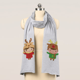 Cute Kids with Reindeer Hats Winter Holiday Scarf