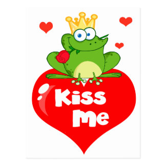 cute kiss me frog prince on heart cartoon postcard