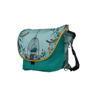 Cute Kissing Birds In Bird Cage You Choose Colors Commuter Bag
