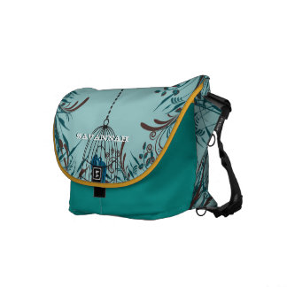 Cute Kissing Birds In Bird Cage You Choose Colors Messenger Bag