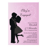 Cute Kissing Couple in Love Engagement Party Custom Invitations