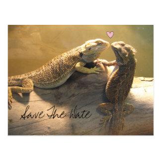 Cute Kissing Lizards Wedding Save The Date Postcard
