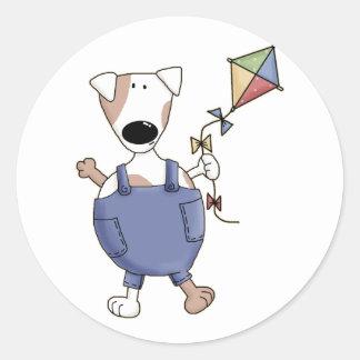 Cute Kite Puppy Dog Classic Round Sticker