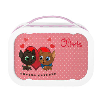 Cute kitten and kitty illustration lunchbox