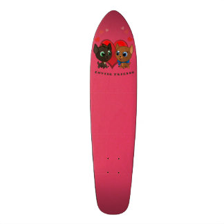 Cute kitten and kitty illustration skate board decks