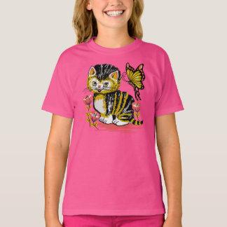 Cute Kitten & Butterfly Girls ComfortSoft® T-Shirt