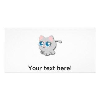 Cute kitten cartoon photo card