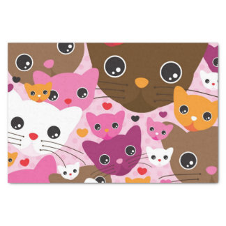 cute kitten cat background pattern tissue paper