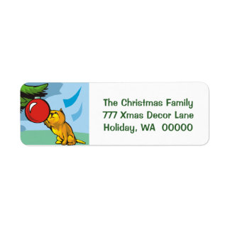 Cute Kitten Cat Custom Holiday Greeting Card Label Return Address Label