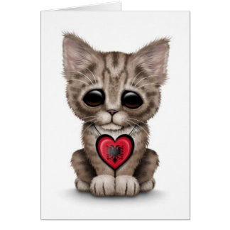 Cute Kitten Cat with Albanian Flag Heart, white Card