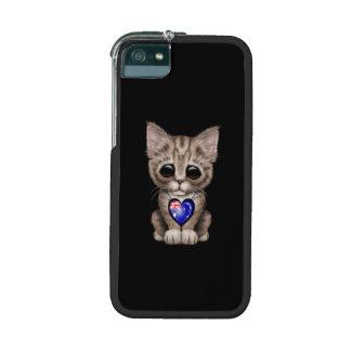 Cute Kitten Cat with Australian Flag Heart, black iPhone 5/5S Cases