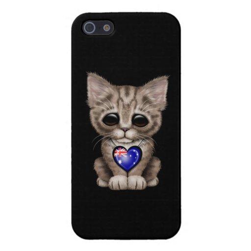 Cute Kitten Cat with Australian Flag Heart, black iPhone 5 Cases