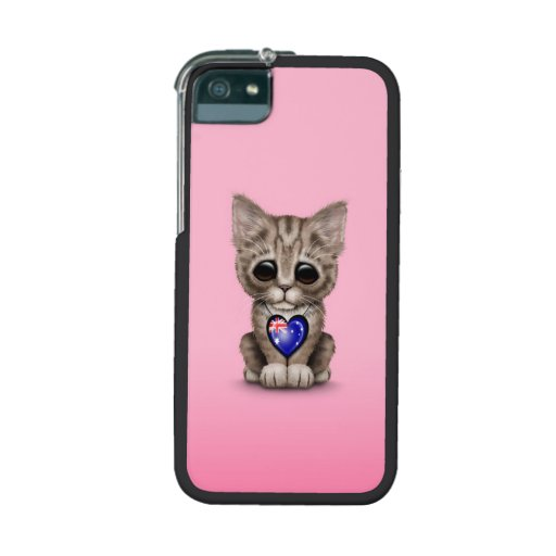 Cute Kitten Cat with Australian Flag Heart, pink Cover For iPhone 5
