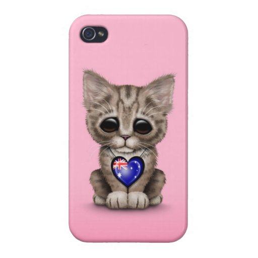 Cute Kitten Cat with Australian Flag Heart, pink iPhone 4 Case