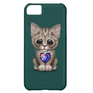 Cute Kitten Cat with Australian Flag Heart, teal Cover For iPhone 5C