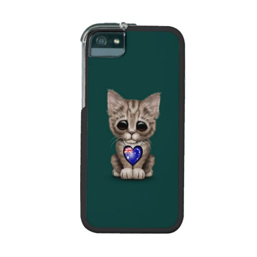 Cute Kitten Cat with Australian Flag Heart, teal iPhone 5 Cover