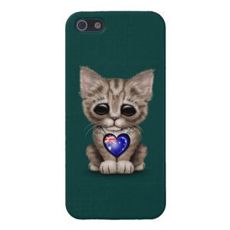 Cute Kitten Cat with Australian Flag Heart, teal iPhone 5 Case